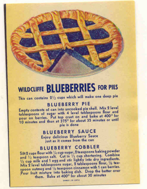 Wildcliffe Blueberry Pie Can Label