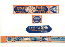 Pig Pate Can Bottle Label Set 1930s