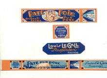 Pig Pate Can Bottle Label Set 1930s