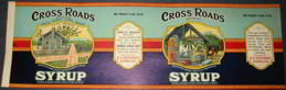 Huge Cross Roads Syrup Pail Label