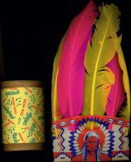 Dimestore Indian Head Dress and Tom Tom Drum Toys