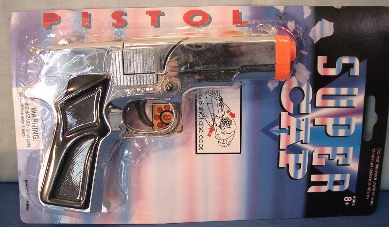 Super Silver Cap Gun Toy on Display Card