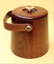 Vermillion Solid Walnut Ice Bucket 1960s