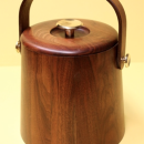 Vermillion Solid Walnut Ice Bucket 1960s