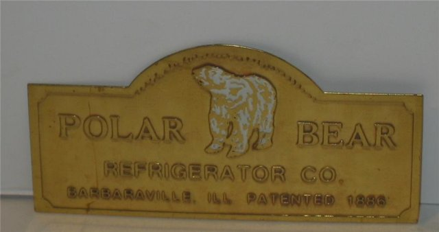 Polar Bear Refrigerator Nameplate - Brass