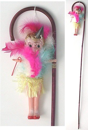 Carnival Kewpie Doll with Circus Cane Toy 1940s