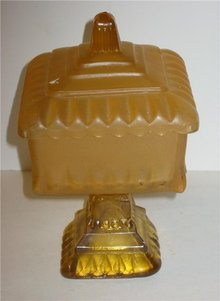 Amber Glass Pillar Candy Dish - Vintage