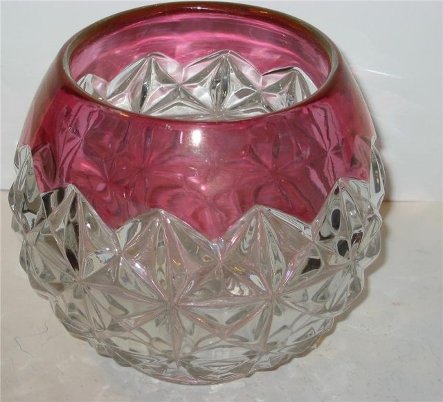 Cranberry Glass Candleholder