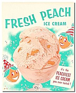 Peach Ice Cream Poster sign