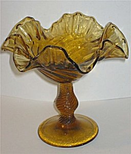 Depression Era Amber Brown Glass Fruit Compote