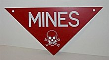 Vietnam War Mines Sign 1960s