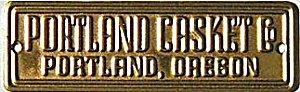 Portland OR Casket Funeral Brass Plaque Signs