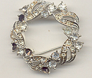 Old Vintage Circular Wreath Rhinestone Pin