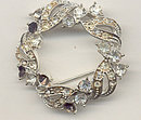 Old Vintage Circular Wreath Rhinestone Pin