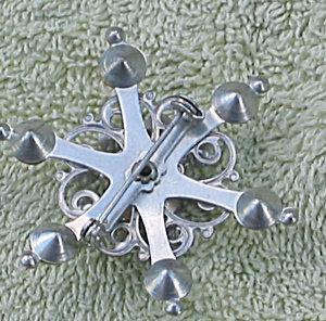 Vintage Rhinestone Snowflake Brooch Pin