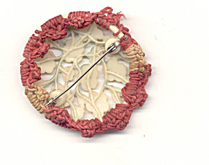 Celluloid Floral Brooch Pin