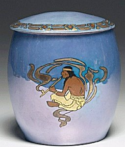 T&V Limoges Biscuit Jar Native American Indian