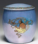 T&V Limoges Biscuit Jar Native American Indian