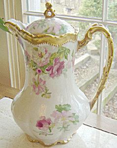 Limoges Rose Floral Coffee Pot