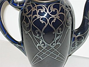 Lenox Cobalt Blue Silver Overlay Coffee Pot