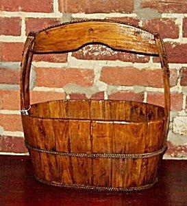 Oval Wooden Well Bucket Garden Planter 1900s