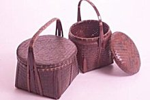1900s Two Tone Bamboo Storage Basket ~ Plant