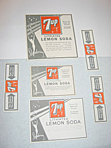 old vintage 7UP Soda Bottle Labels Set