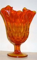 Orange Amberina Glass Fluted Compote candy dish