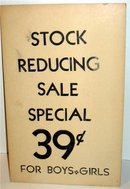 Stock Reduce Store Display Sign