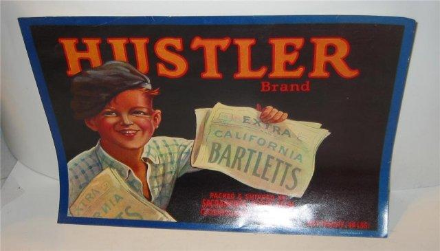 Hustler Bartlett Pear Crate Label