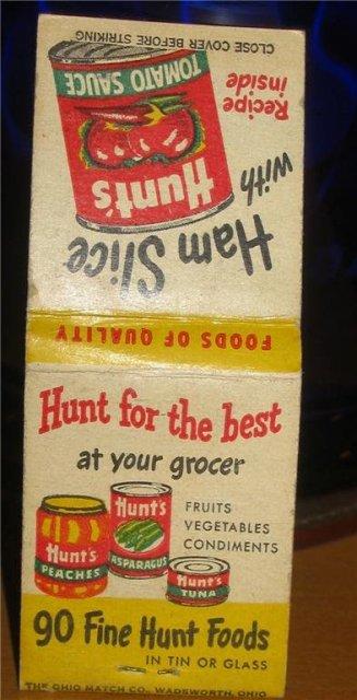 Hunts Tomato Sauce Matchbook