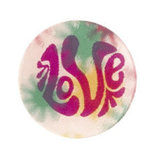 Love 3-D Flasher Hippie Button pin