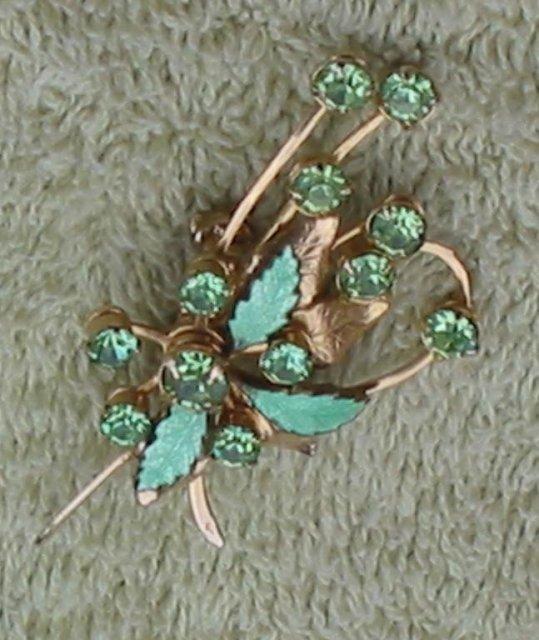 Rhinestone Leaf Brooch Pin