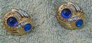 Retro Blue Gold Button Earrings