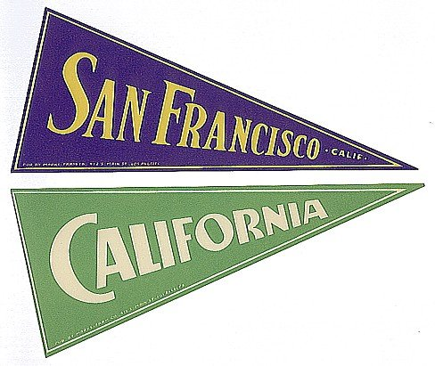 old San FRANSICO ~ CA Pennant Luggage labels