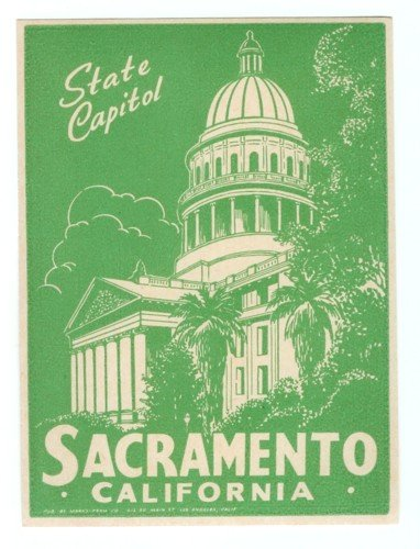 Sacramento CA Luggage Label