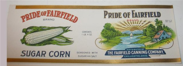 Pride of Fairfield Corn Label