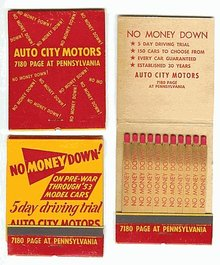 Auto City Matchbooks