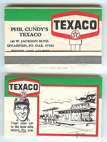old vintage TEXACO oil MATCHBOOK full