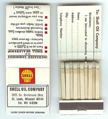 Old Vintage SHELL OIL MATCHBOOK full