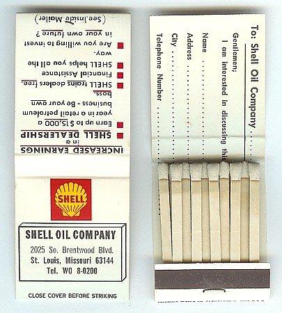 Old Vintage SHELL OIL MATCHBOOK full