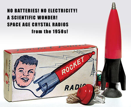 old vintage CRYSTAL ROCKET RADIO mini toy kit