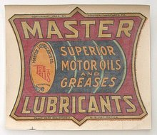 MOTOR OIL DECAL * VINTAGE MASTER LUBRICANTS 1924 STORE WINDOW DECAL