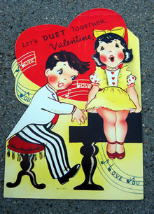 old vintage 1940s VALENTINES DAY card