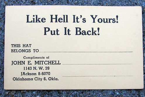 old vintage COMICAL HAT CHECK CARD
