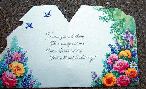 old vintage GOLDEN WISHES unused floral card