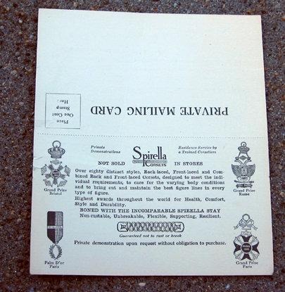 old vintage SPIRELLA CORSET ad card