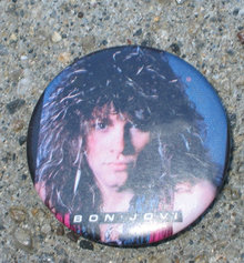 old vintage 1980s JON BON JOVI pinback button