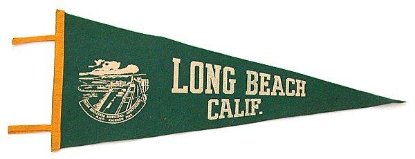 old vintage 1940s LONG BEACH CA felt pennant