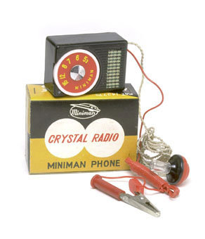 old vintage 1950s TINY CRYSTAL RADIO